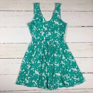 Disney Little Mermaid Green White Print Dress S